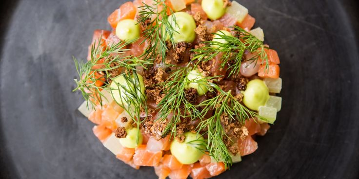 Paul Welburn's fresh vibrant salmon starter is complemented by the unusual addition of the flavours of gin and tonic.