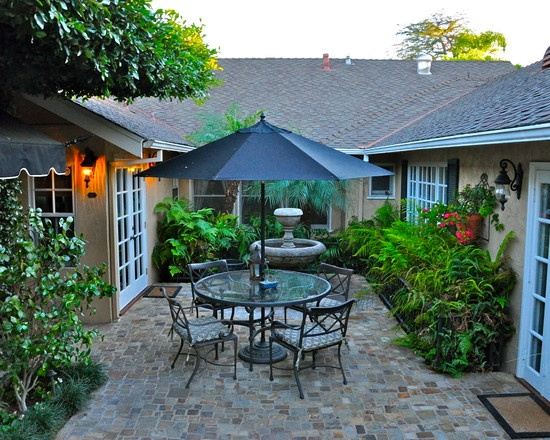 31 best enclosed courtyards images on pinterest for Courtyard landscaping plans