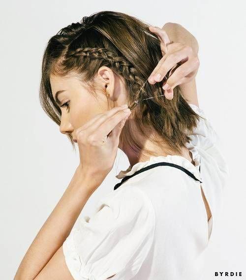 Tutorial: The Coolest Braided Updo for Short Hair | Byrdie #shorthair