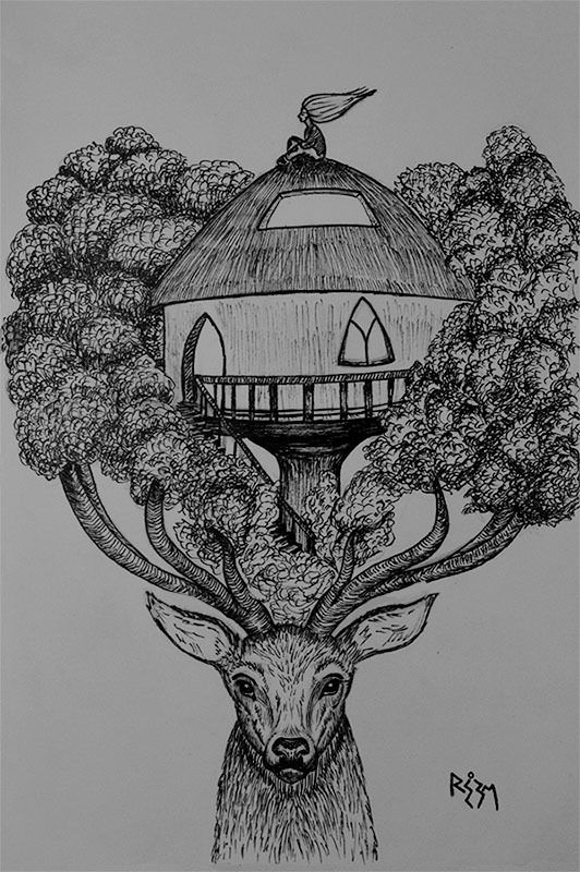 "Inktober Challenge, day 14 sketch ..Today's prompt is ""Tree"" .. I drew a deer again because they are awesome .. About the tree house, I live in Cairo .. one of the most polluted cities in the world .. air, water, sound pollution .. every sort, you name it .. and this makes me hope for a day when we give full consideration to nature as our primary ""home"" and build our houses and communities accordingly .. hope that it's not too late .. Worldwide, we already destroyed much of our hom..."