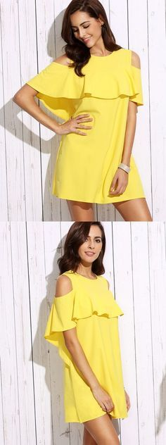 Glamorous,dazzling the eyes. #Yellow #ColdShoulder #Ruffle #Shift #Dress
