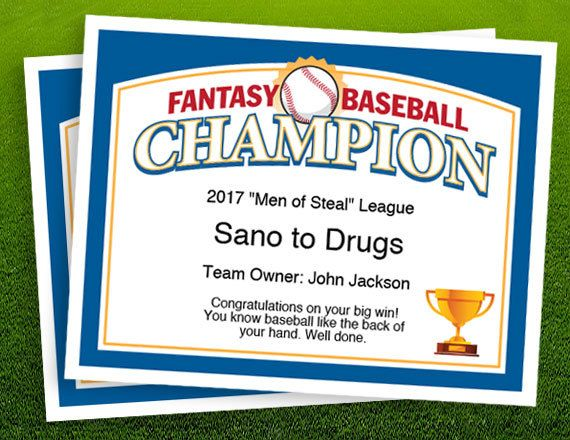 Fantasy Baseball Champion Certificate template. Recognize the champ in your fantasy baseball league.   fantasy baseball trophy, championship award template