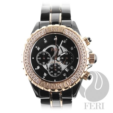 Feri Toronto - Ceramica Masterpiece - Rose Gold, sapphire crystal face, scratch resistant, 3 year warranty. Premium Japanese chronograph movement and featured at the Toronto International Film Festival!