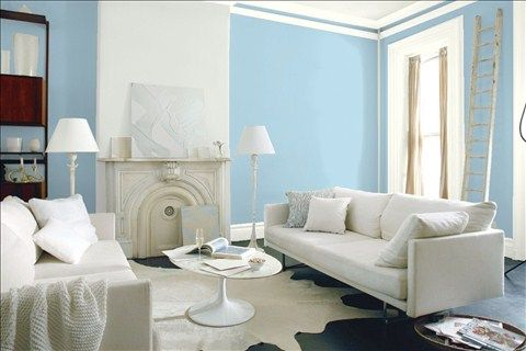 Look at the paint color combination I created with Benjamin Moore. Via @benjamin_moore. Wall: Blue Hydrangea 2062-60; Accent Wall: Horizon 1478; Trim: Simply White OC-117.