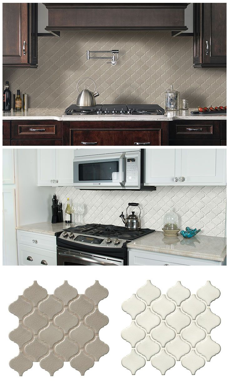 The classic arabesque pattern is back, and it looks right at home in contemporary- or traditional-style kitchens. These backsplashes show the Fog Arabesque and the Bianco Arabesque porcelain mosaic tiles... just two of the many stylish tile choices from The Home Depot.