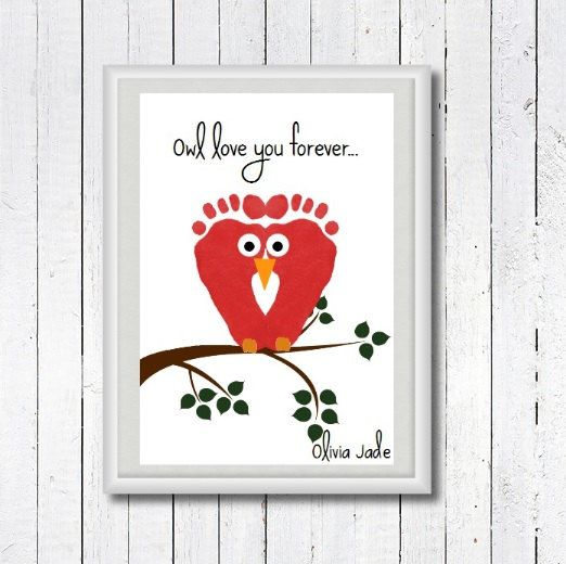 Nursery Owl Print Baby Footprint Art Baby Footprint