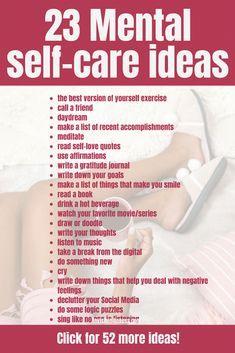 Arbeiten Sie mit etwas Selbstpflege an Ihrer geistigen Gesundheit? Dann möchten Sie vielleicht überprüfen …   – Self Care