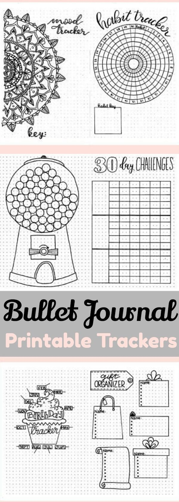 Creative Tracking: Printable Bullet Journal Trackers ~ Mandala mood tracker, circular habit tracker, 30 day challenges tracker, gumball machine tracker, birthday tracker, gift ideas list ~ bujo printable trackers, planner inserts, bullet journal printable inserts, instant download #affiliate #bulletjournalcollection #bujotrackers #plannerprintable