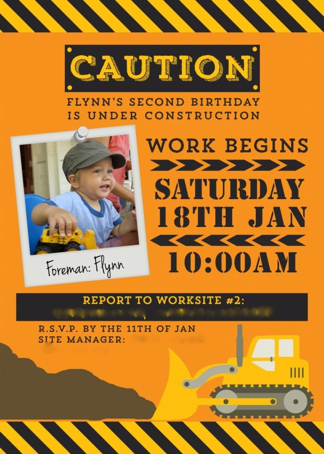 boy's construction truck birthday party invitation