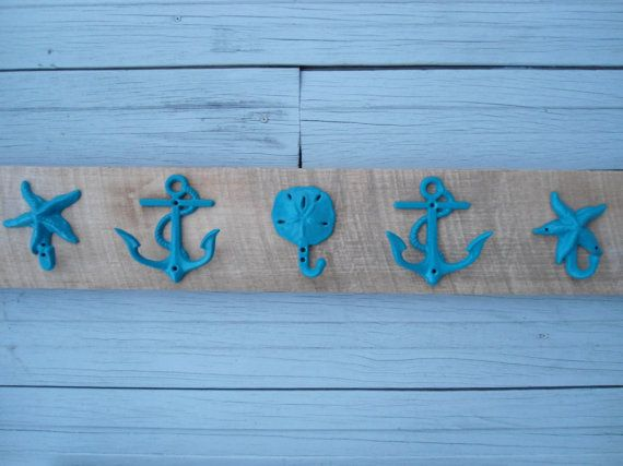 5 hooks on barnwood rustic beach decor starfish by riricreations, $50.00