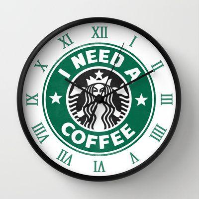 i need this in my kitchen  I need a coffee! Wall Clock by John Medbury