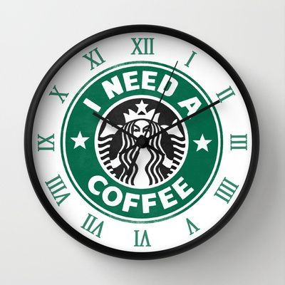 i need this in my kitchen  I need a coffee! Wall Clock by John Medbury