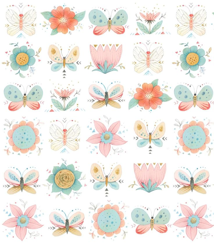 801-544 Dream Catchers Butterflies and Flowers on White 3224-12