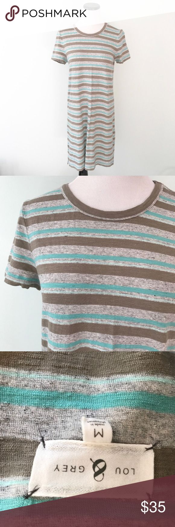 """LOU & GREY Striped T-Shirt Dress green gray linen Worn once and in excellent condition. Comfy T-shirt dress in Linen, cotton and spandex. Short sleeves. Chest 18"""". Length 35.5"""". Lou & Grey Dresses"""