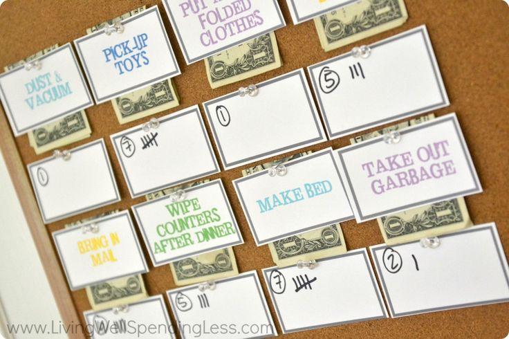 DIY Show-me-the-money chore reward bulletin board. (Ready to take it online? Try FamZoo.com)