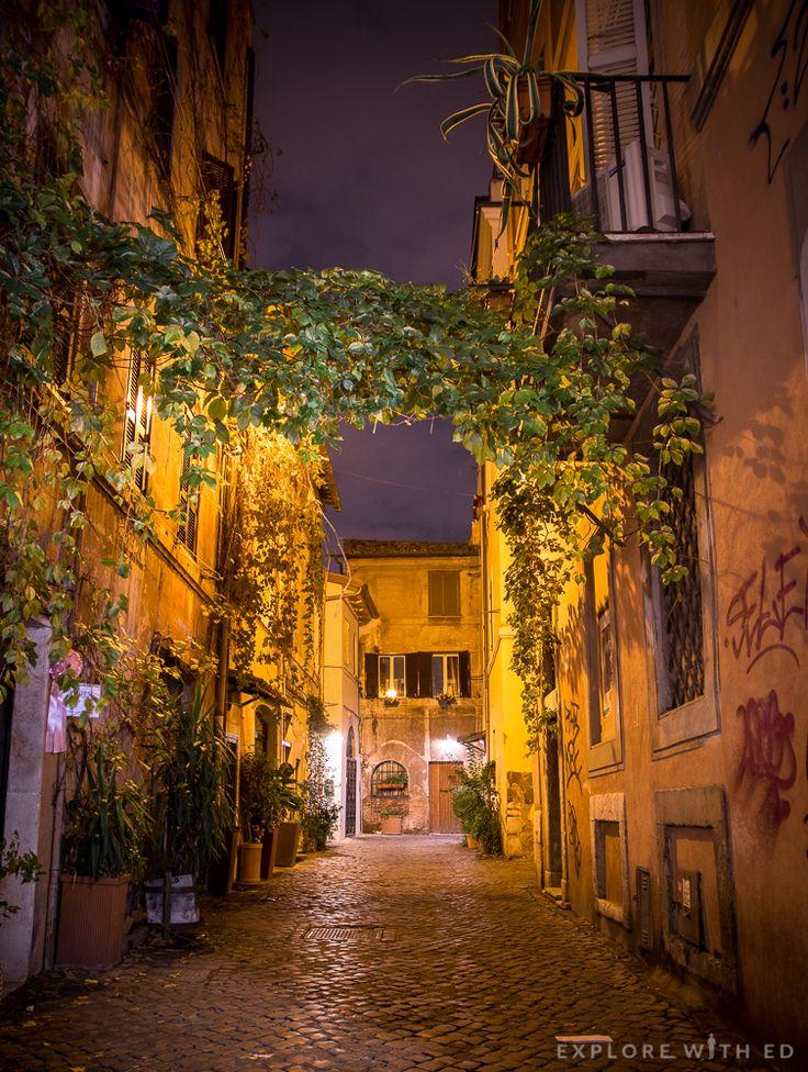 Charming side street in Trastevere, Rome.