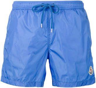 Flattering light blue, Moncler logo plaque swimming trunks #swimwear #swimshorts #summerwear #menswear