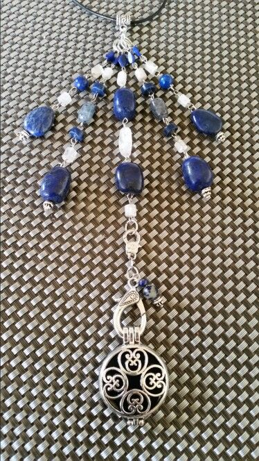 Lapis Selenite Kunzite Aromatherapy Diffuser Necklace