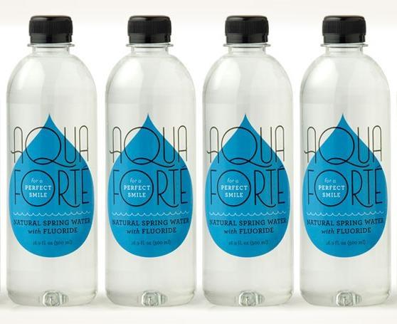 bottled water by Louise Fili Ltd.