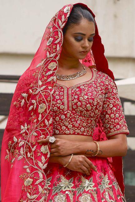 c4e582cabd06 Buy Raspberry Pink Thread Embroidered Raw Silk Bridal Lehenga Online