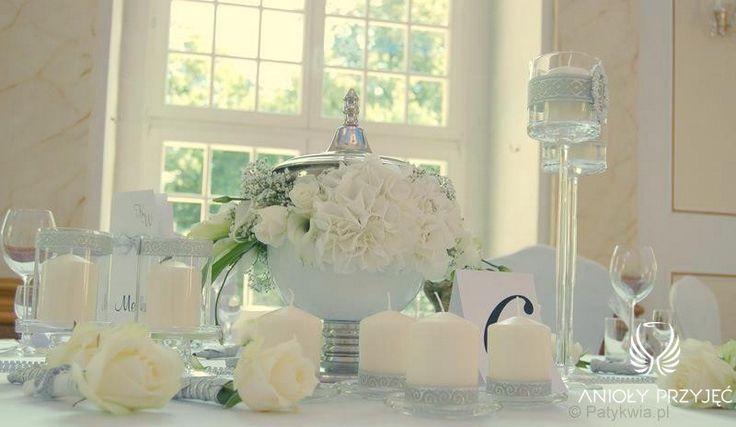 12. Roman Wedding,White silver centerpieces / Rzymskie wesele,Białe Srebrne dekoracje stołów,Anioły Przyjęć