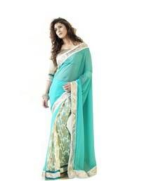 Buy Blue brasso georgette saree with blouse brasso-saree online