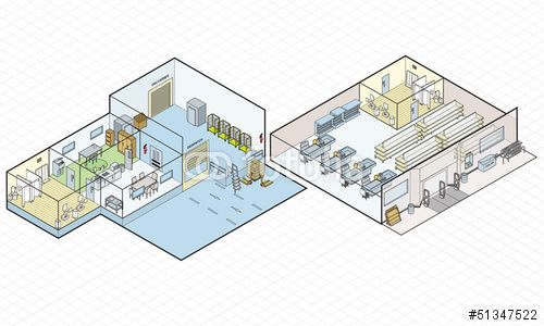 Vector: Store Shop and Loading Bay Vector Isometric