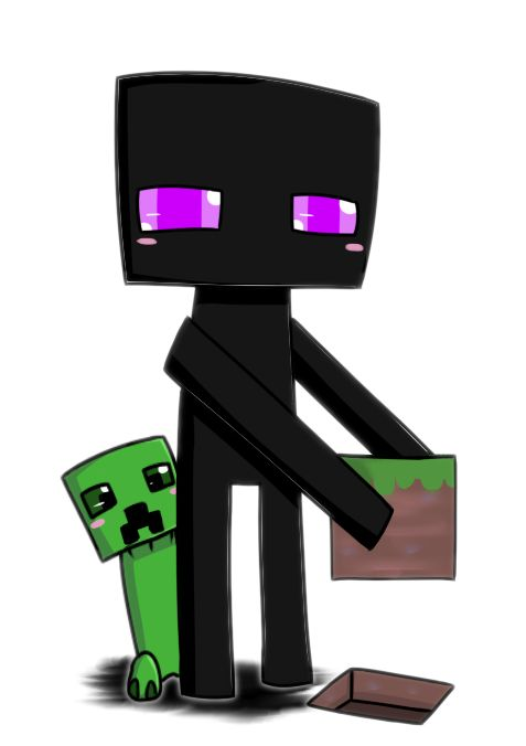 Enderman and Creeper chibi by 0GameGirlArtistNerd0.deviantart.com on @deviantART