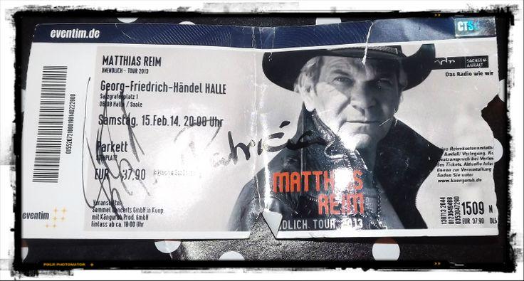 Autogramm von Matze und Patricia nach dem Konzert 15.02.2014 in Halle/Saale  #MatthiasReim#Konzert#Halle/Salle