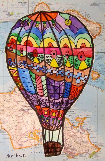2nd grade art - line/pattern hot air balloon map lesson