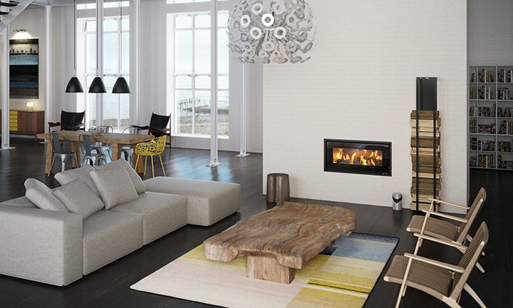 This streamlined and elegant #insert #fireplace from #RAIS is called #RAIS900 and the view of the flames is phenomenal. #brændeovn #RAIS