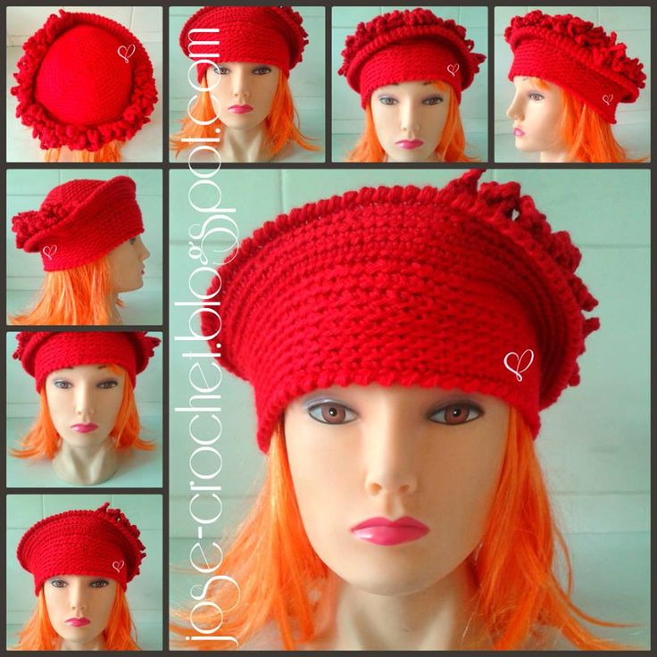 The Linda Hat crocheted by Jose-Crochet(pronounced Yo-Zay crochet) designed by Strawberry Couture. She crocheted it for a friend in the Netherlands chapter of the Red Hat Society. Browse her other work in her blog http://jose-crochet.blogspot.com/  The crochet pattern is here - http://www.etsy.com/listing/128636873/crochet-hat-pattern-women-crochet-hat?ref=shop_home_active