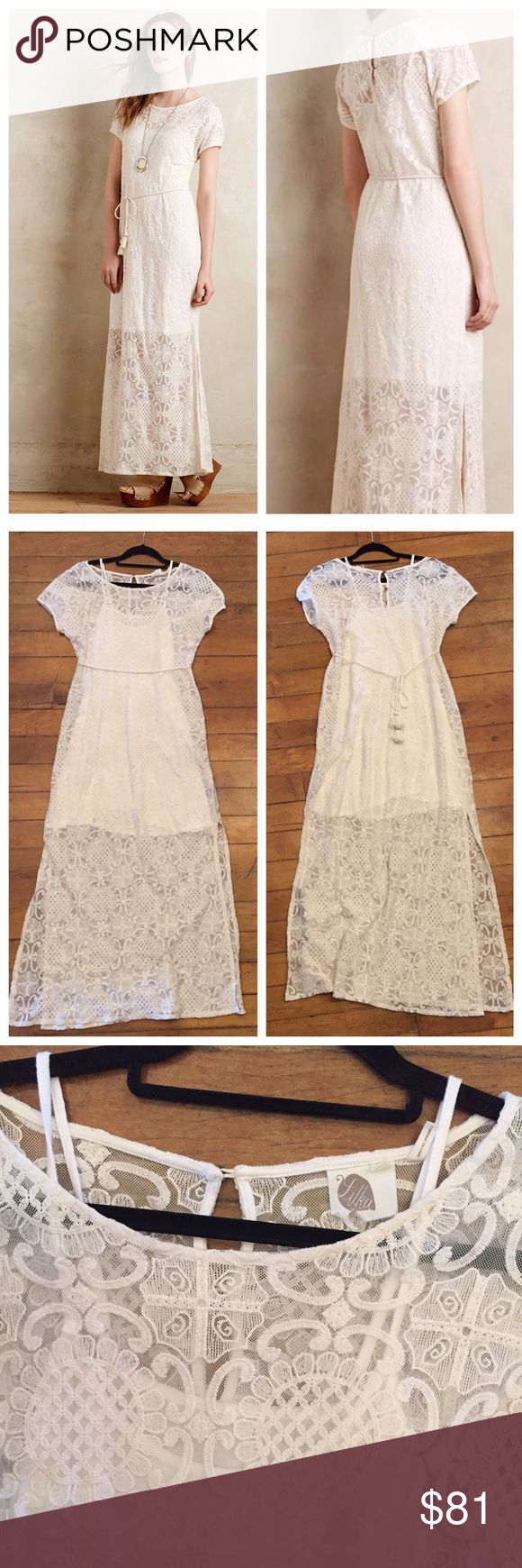 Anthropologie Brand Long Lace Maxi Dress Size S Anthropologie Brand called Lilka. ⚜️I love receiving offers through the offer button!⚜️ Great condition, as seen in pictures! Fast same or next day shipping!📨 Open to offers but I don't negotiate in the comments so please use the offer button😊 Anthropologie Dresses Maxi