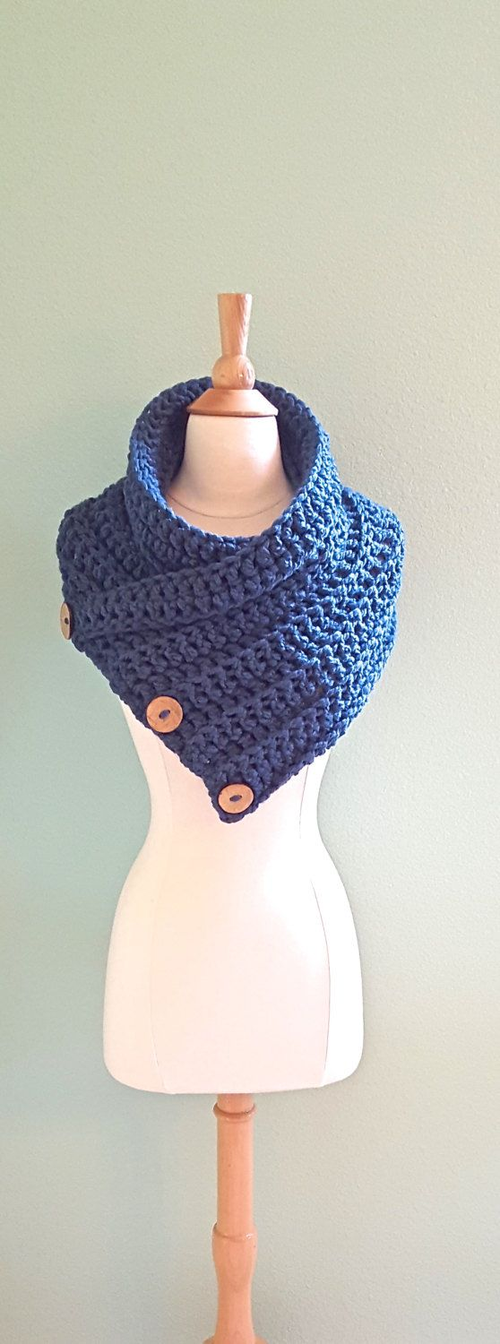 Chunky Crochet Infinity Scarf, Huntress Cowl, Chunky Crochet Cowl, Denim Blue Infinity Cowl, Outlander Cowl, Cowl with Buttons - pinned by pin4etsy.com
