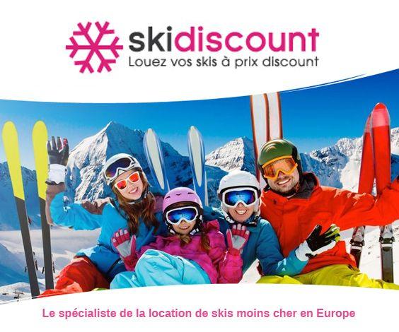 Ski Discount est spécialisé dans la location de matériel de ski et de snowboard à petits prix. La réservation se fait en ligne et le retrait dans plus de 500 stations de sports d'hiver d'Europe. En plus des tarifs jusqu'à 60% moins cher, un code promo donne droit à -5% supplémentaires
