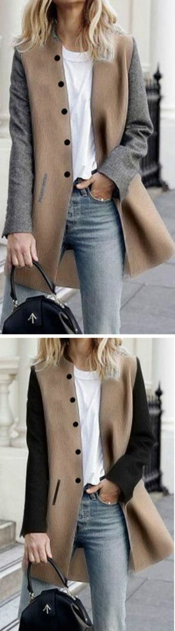Camel coat with gray or black sleeves with a white t-shirt, faded jeans, black handbag