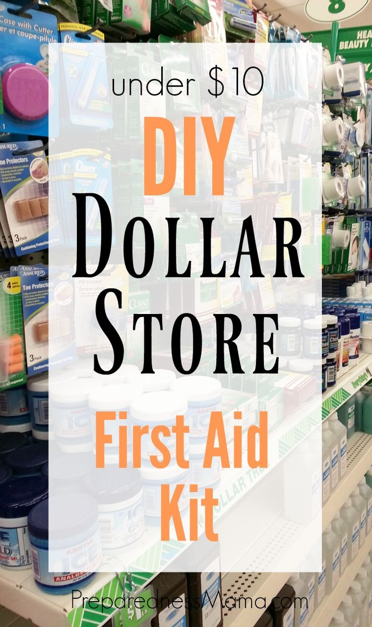 DIY Dollar Store first aid kit. Your local dollar discount store will have everything you need for an emergency first aid kit. All for under $10!