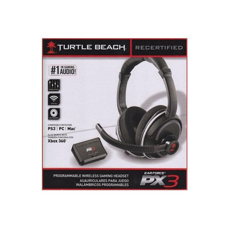 Turtle Beach Ear Force PX3 Wireless Over-Ear Headset Black For PC XBOX 360 PS3 PX3