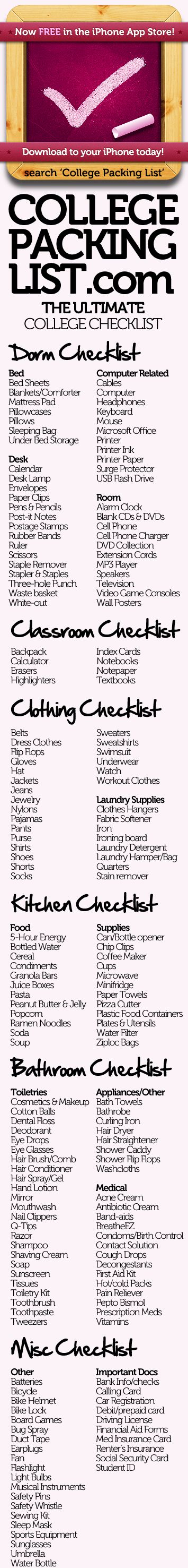 dorm checklistColleges Checklist, Colleges Life, Dorm Room, Colleges Pack Lists, Check Lists, Colleges Dorm, College Checklist, Dorm Checklist, College Packing Lists