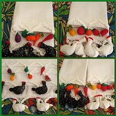 Panos de prato com frutas e galinhas de croche...