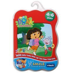 VTech - V.Smile - Dora The Explorer by V.Smile. $9.95. Amazon.com                Dora the Explorer, everyone's favorite bilingual adventurer is here to help young children learn a variety of skills and concepts. With the help of Boots, her monkey sidekick, Dora teaches colors, shapes, numbers, animals, spatial skills, and problem solving. This Dora Smartridge is compatible with the V-Tech V-Smile system. In an informal test, we found the Dora games to be both challenging and ...