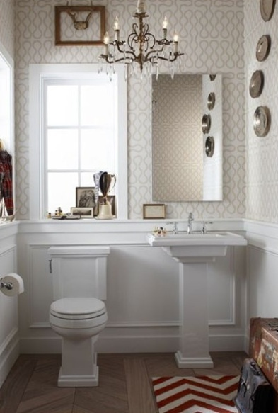 Adorable Powder Room Design With Wainscoting White