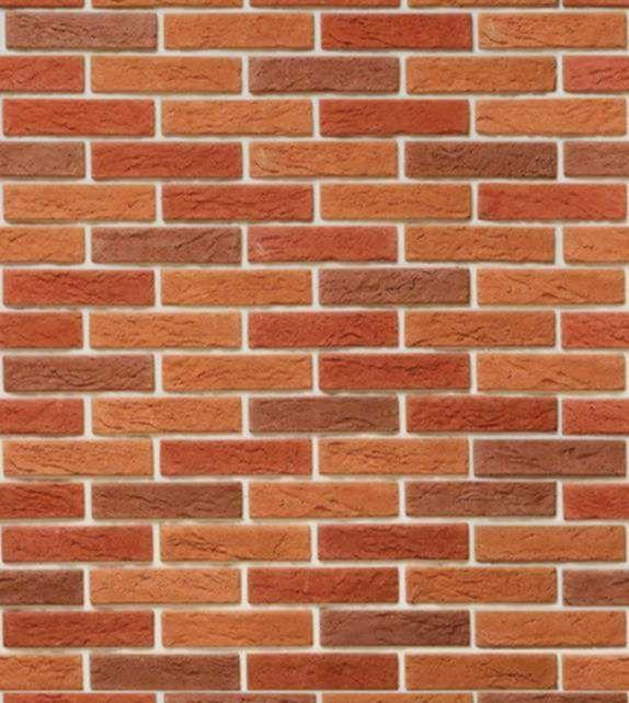 Papel de parede modelo pedras, com tijolos em tons de laranja e marrom, com detalhes na cor bege - Textura 06