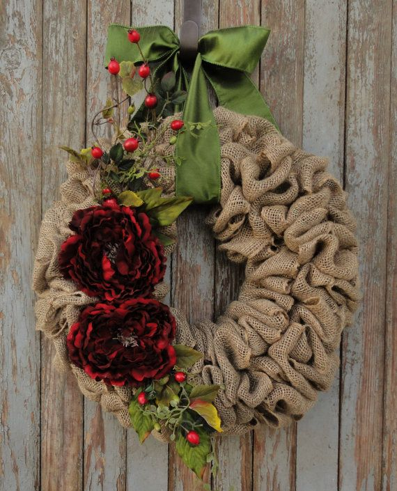 Holiday Burlap Wreath with Red Flowers and by WhimsyChicDesigns