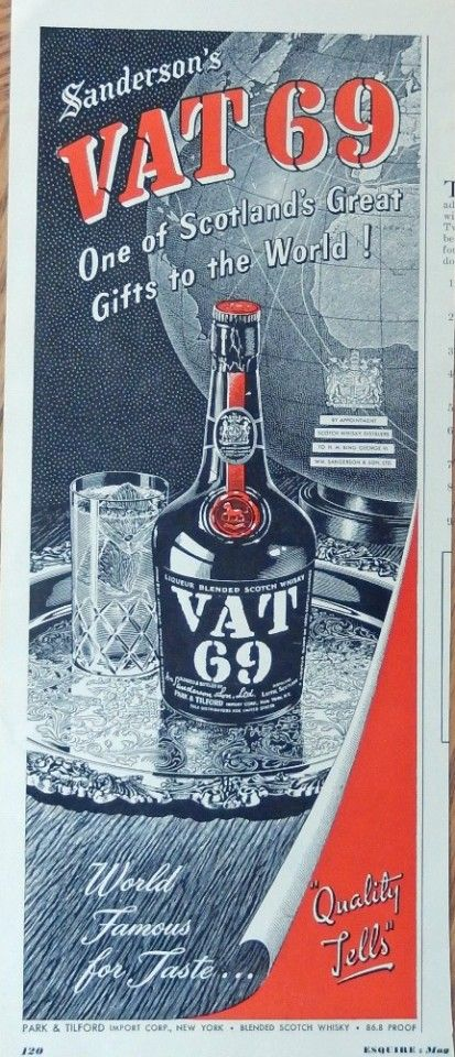 Vat 69 Whiskey  50 s Print ad  Illustration  silver serving tray  original 1950 esquire magazine art