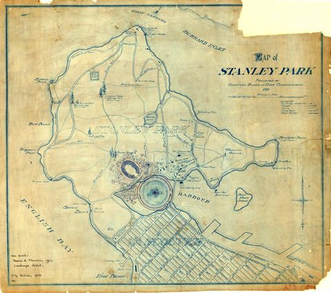 Map of Stanley Park - City of Vancouver Archives
