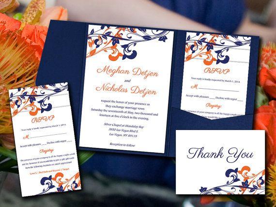"Wedding Pocketfold Template Download - Navy Orange Invitation ""Whimsical Vines"" Navy Orange Invite RSVP Accommodation Reception Thank You"