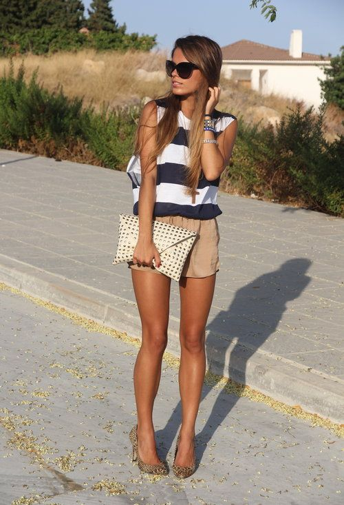 stripesFashion, Summer Looks, Summer Outfit, Style, Navy Stripes, Shorts, Legs, Currently, T Shirts