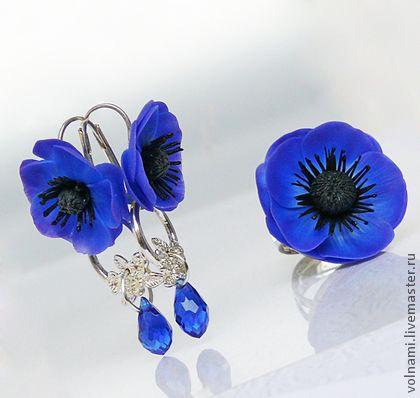 """""""Анемона"""" - тёмно-синий,цветок,анемона,серьги,серьги цветок,красивый подарок"""