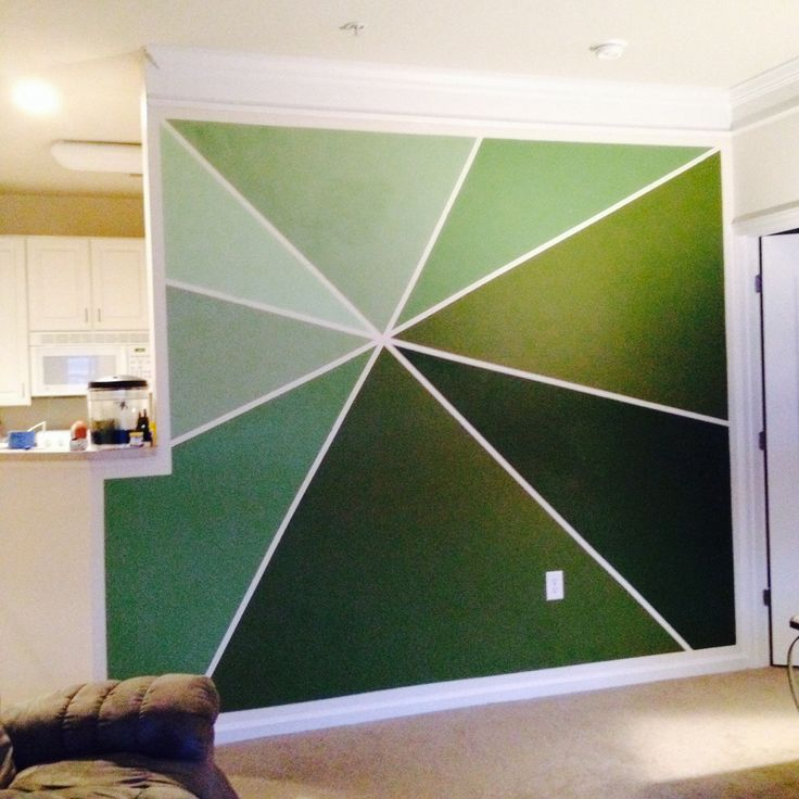 Artsy green wall my bf painted. So talented.